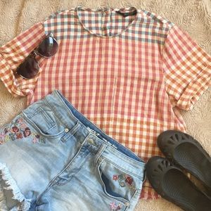 Trafaluc Collection Plaid Blouse